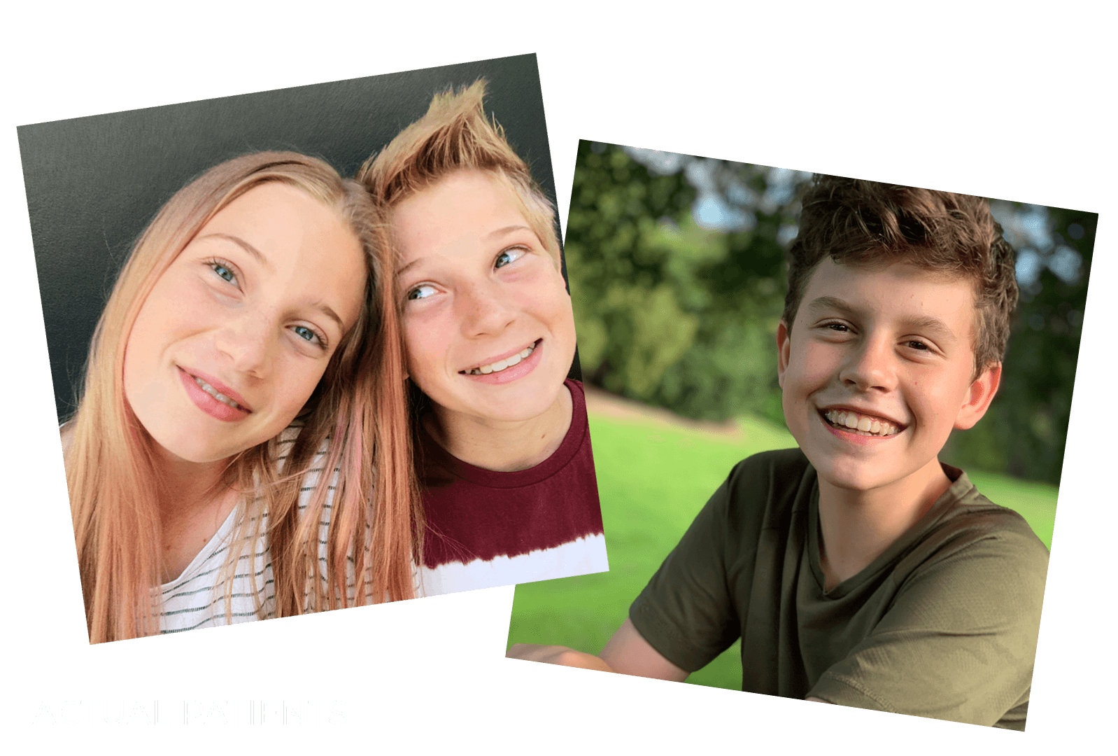 Images of young patients who have received dental services from Clear Smiles Orthodontics